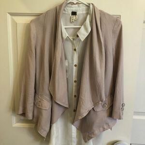 Frenchi Blush Drapey Open Front Jacket